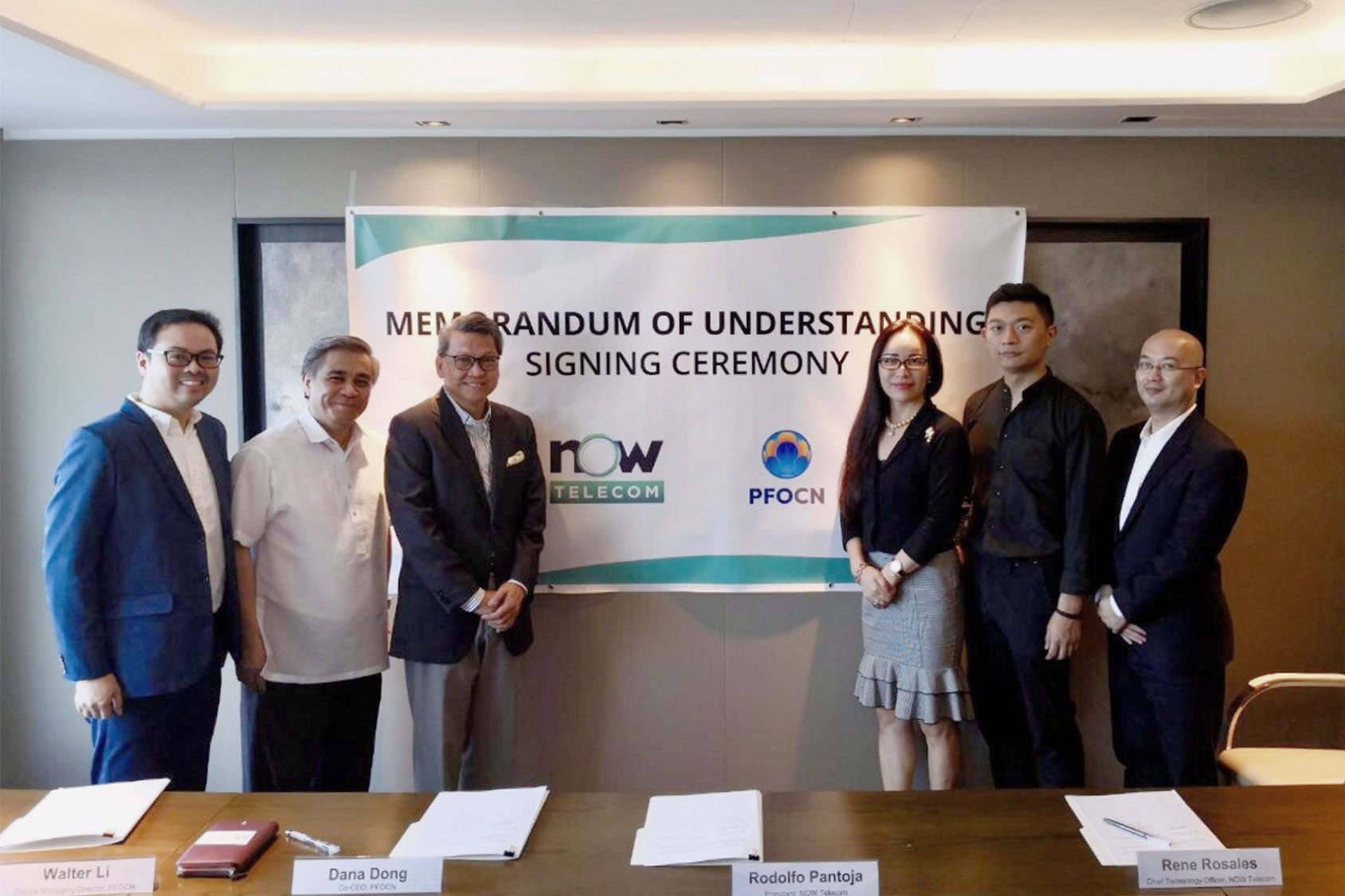 NOW Telecom executed a Memorandum of Understanding with